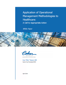 Application of Operational Management Methodologies to Healthcare